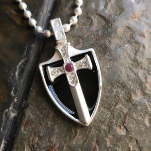 Jewelry - Sword Onyx Shield Necklace